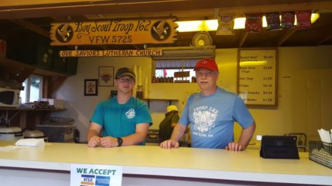Lanz volunteers to help run coffee stand for his troop.