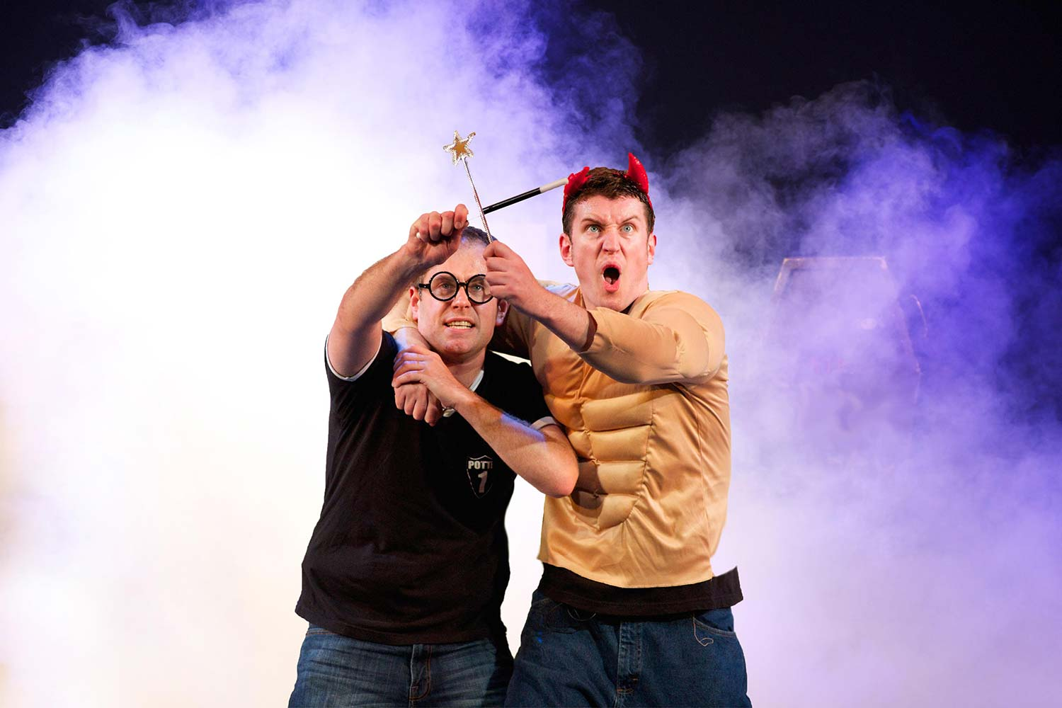 The two-man show condenses the seven book series into 90 minutes of hilarity.