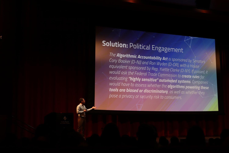 Alumnus Sam McVeety gives a talk about digital redlining.
