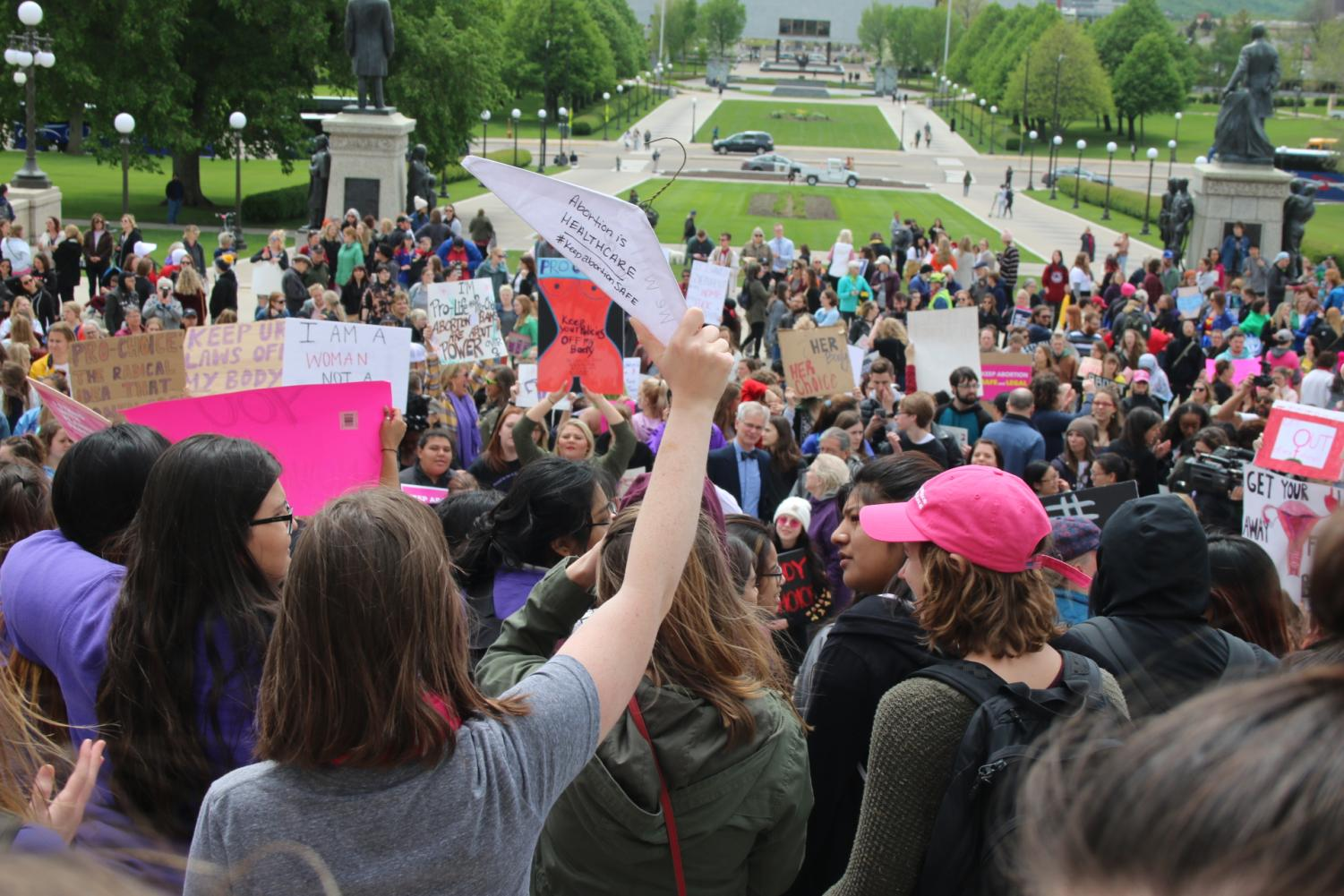 People+protest+proposed+abortion+bans+at+the+Minnesota+state+capitol+on+Tuesday%2C+May+21.