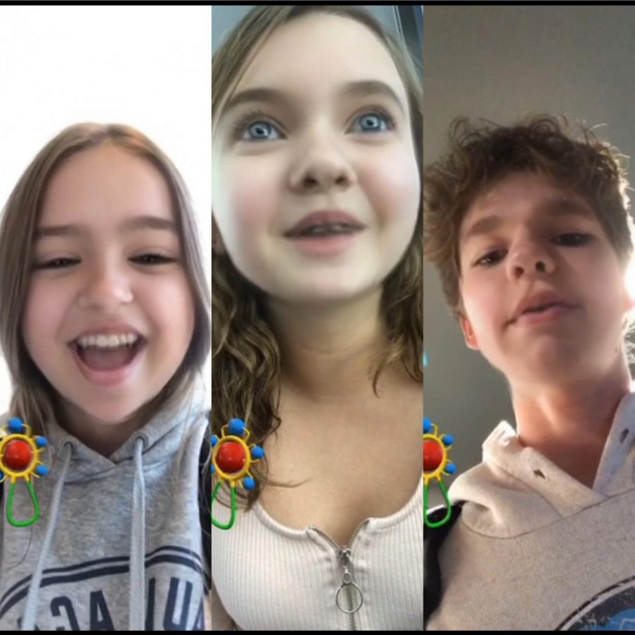 Students used the Baby filter on Snapchat to answer the question: What is your favorite childhood memory?
