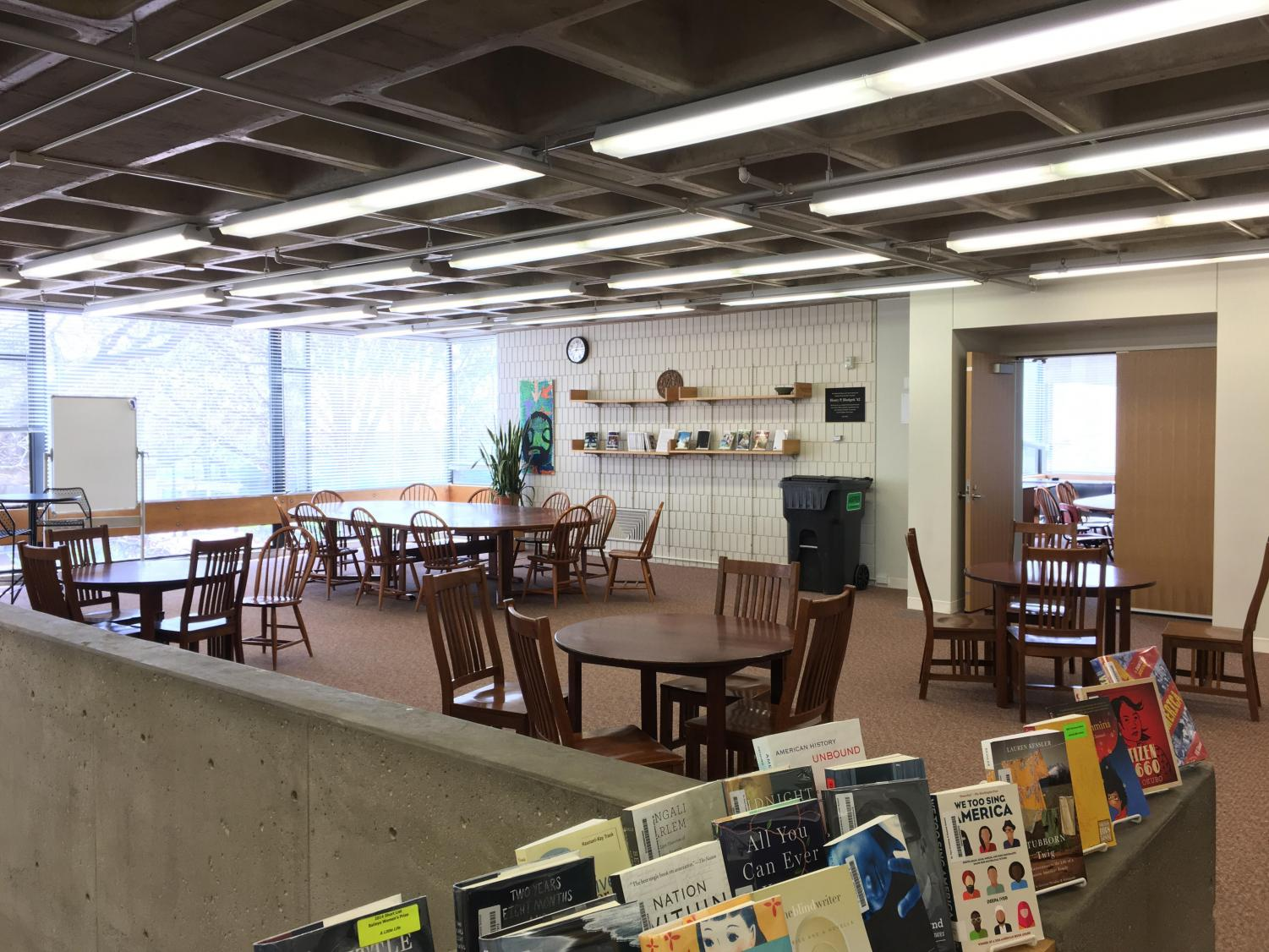 The upper library, where study halls used to be held, is left deserted as ninth graders find other places to study.