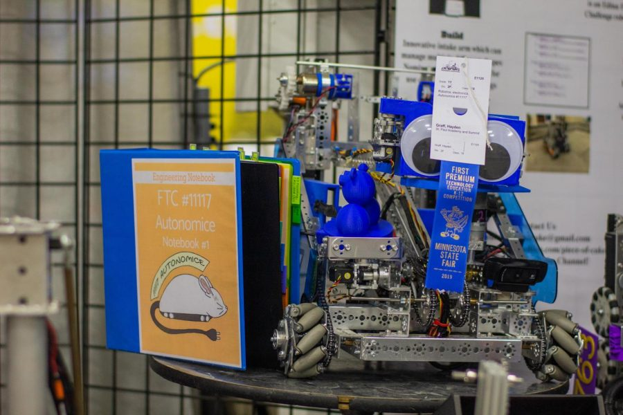"""This is Autonomice, SPA Robotics Team's very own robot. """"We were at the State Fair to have another opportunity to show off our robot, and to reach out to a bigger community about robotics,"""" Sedo said. """"Outreach was very important to us for the fair."""""""