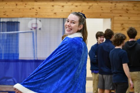 Senior Kathleen Bishop poses for a photo in her class color day attire.