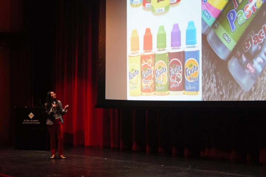 O'Brien shows students ways vape companies market to a younger audience: fun and crazy flavored juices are just one of these methods.
