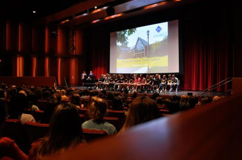 "Team captains sit on the Huss stage Sept. 10, facing student athletes who will play on SPA teams this year. Director of Athletics Dawn Wickstrum said, ""I think it was really powerful to have our captains up on the front of the stage, in front of all of their peers."