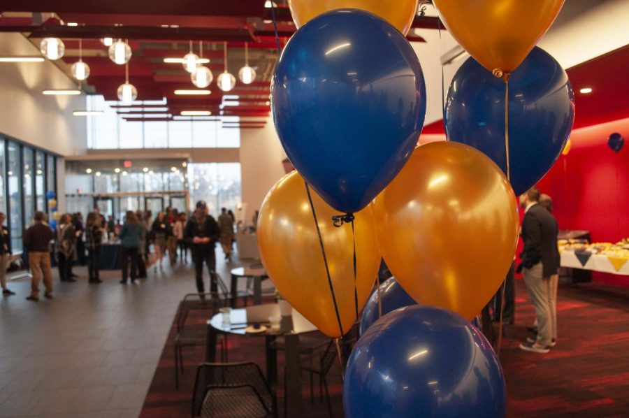 The reception for the open house took place in the Huss Center.