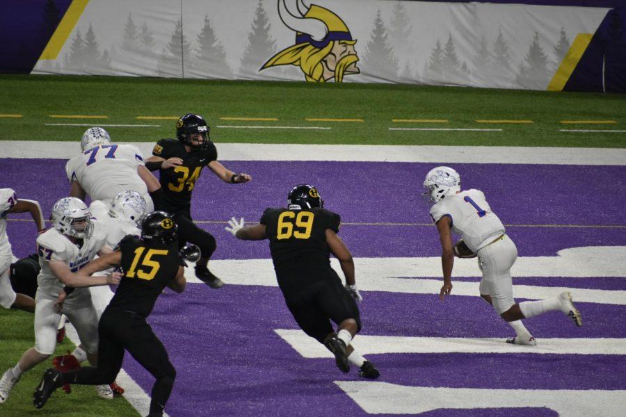 Jalen Suggs running through the defense