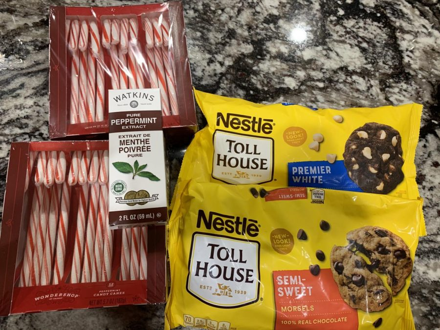 Ingredients used to bake peppermint bark. These ingredients were bought from Target.