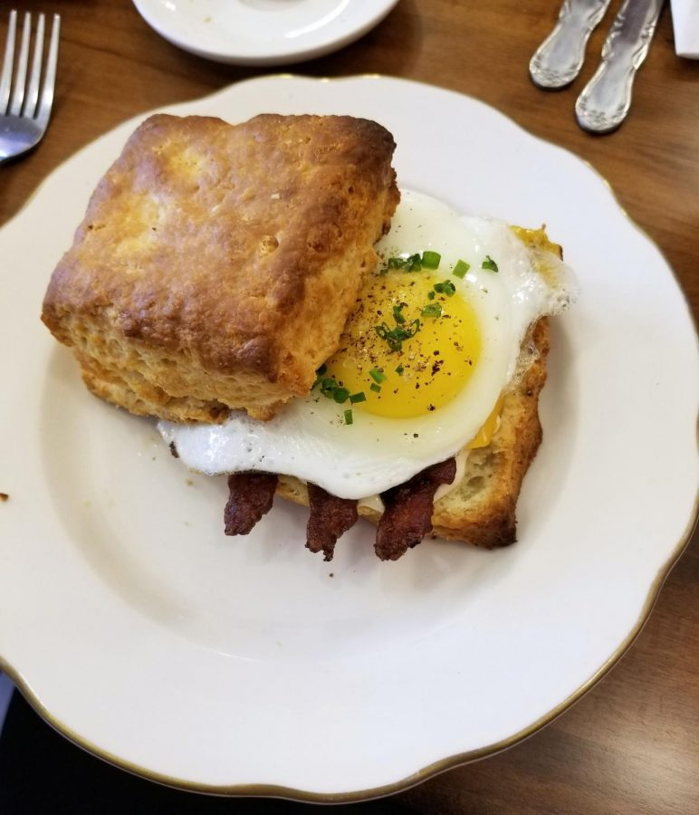 The breakfast sandwich featured an egg, bacon (with the choice of sausage), and cheese, melted together on the Hot Hands biscuits.