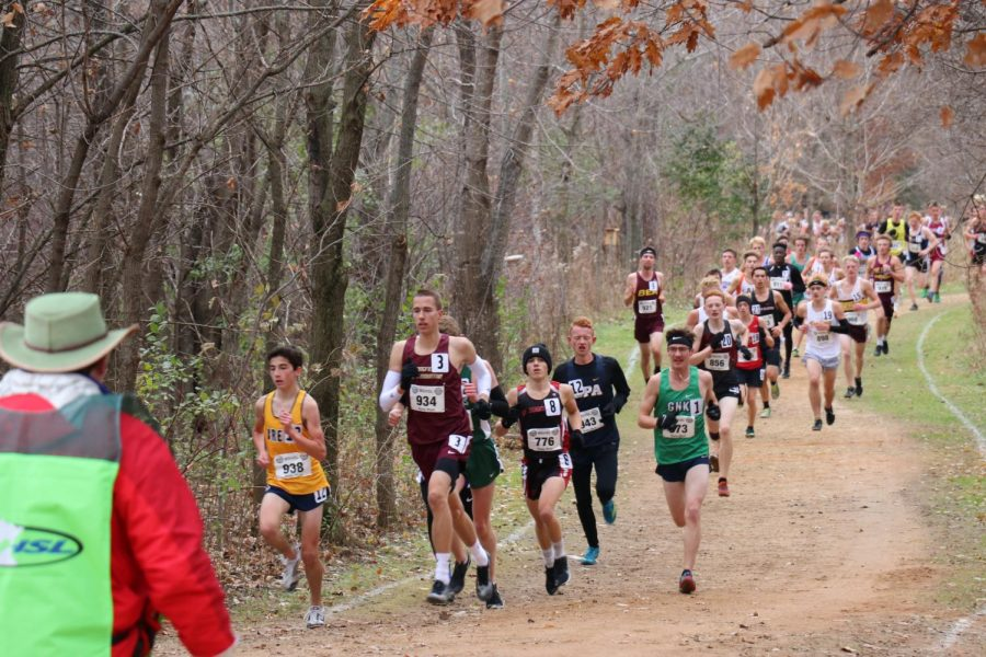 The ~3 mile course went though all of St. Olaf College, where the runners ran through the woods and cornfields of southern Minnesota.