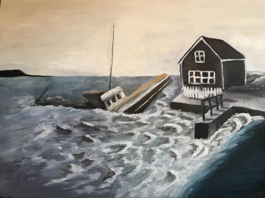 """Milo Zelle was inspired by an image of Martha's Vineyard when he created this piece. Zelle focused on highlighting the contrast of shapes in the piece to highlight the chaos of the scenery. """"The photo that this was based upon was taken after a massive storm which destroyed many boats, docks, and houses,"""" Zelle said."""
