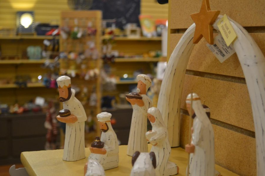 "Wooden figurines of shepherds and Magi make up a nativity scene from Indonesia. Pekerti Nusantara, the organization of artisans that made this set, works to give back to their community with everything from education to disaster relief. ""When you buy something at Ten Thousand Villages, it's a gift that gives twice,"" says staff member Emily Mesch."