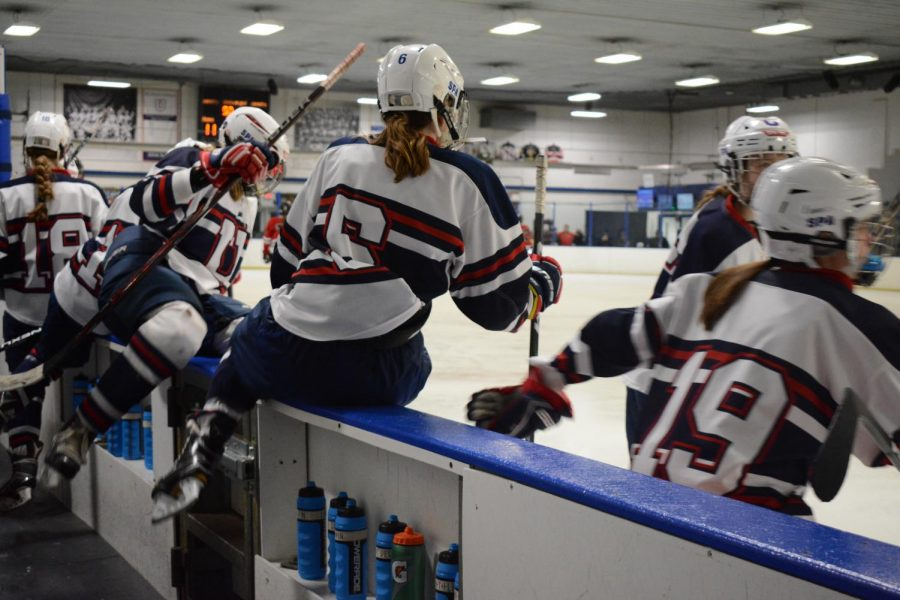 Members hop over the bench to get on the ice and play.