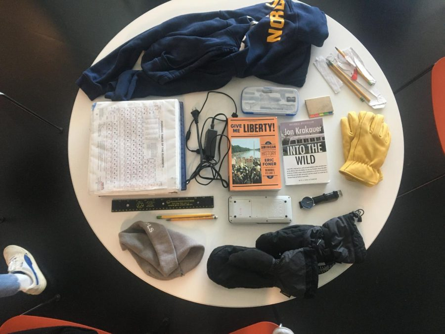 Everything in Garrett's bag, from calculators to sweatshirts.