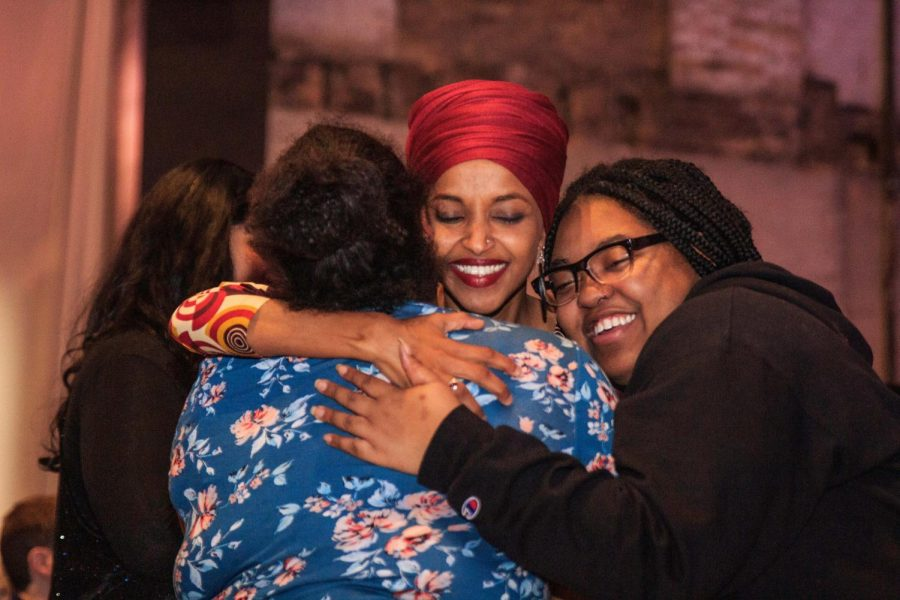 Congresswoman+Ilhan+Omar+%28D-MN%29+embraces+supporters+at+her+reelection+campaign+kickoff+event+before+taking+the+stage+Jan.+23.