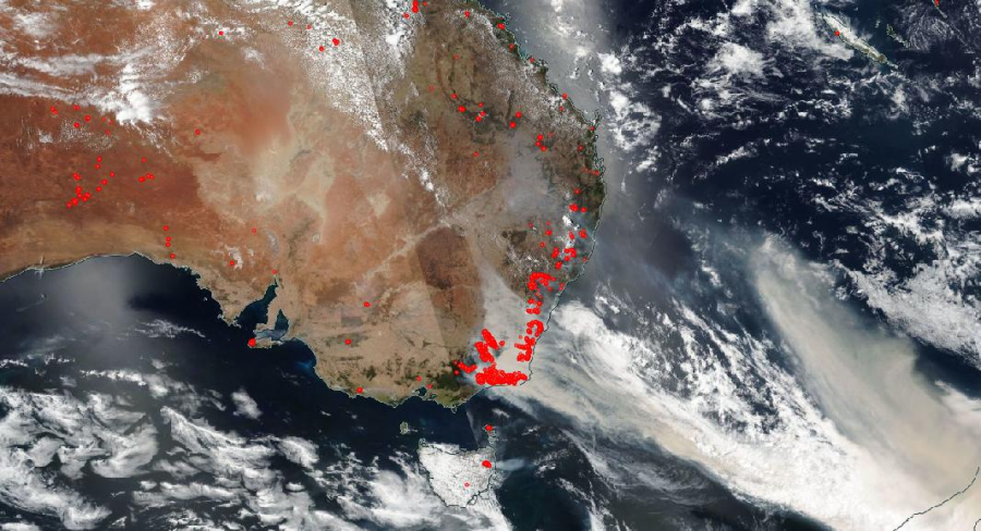 The majority of the bushfires are located around the coast of Australia.