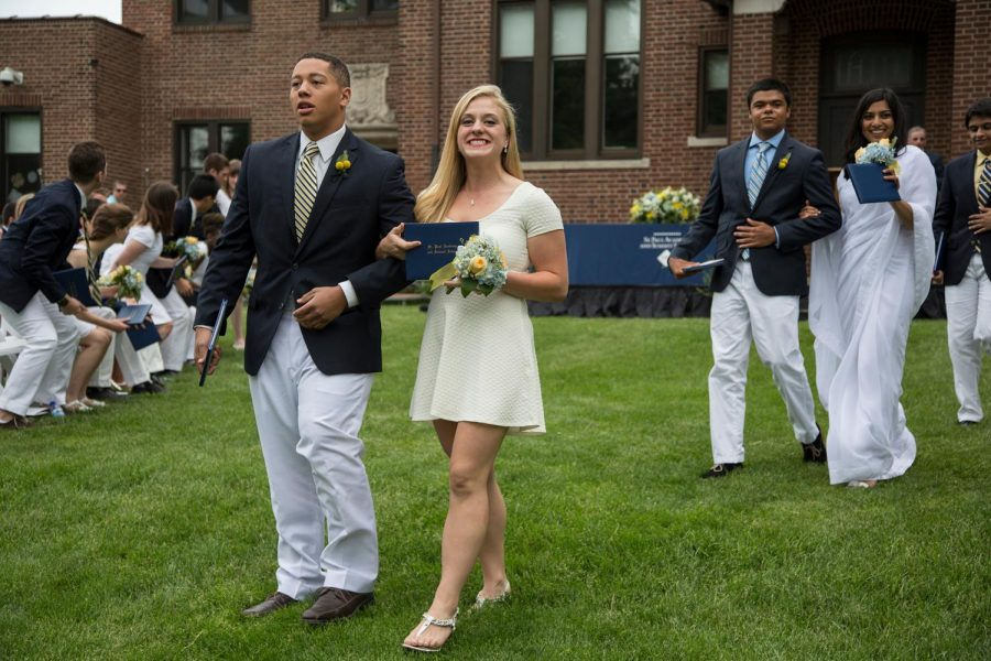 Students process across the front lawn at the Class of 2014 Commencement.