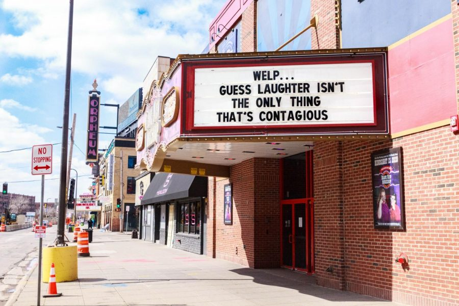 The Brave New Workshop, a sketch and improv comedy theater in Downtown Minneapolis, brings laughter with their marquee in the uncertain times of COVID-19.