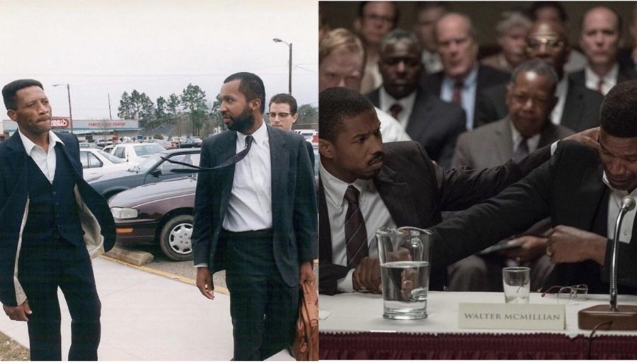 The film show history with some accuracy, using archive photos from the trial (left) to capture the spirit of real interactions in the film (right)