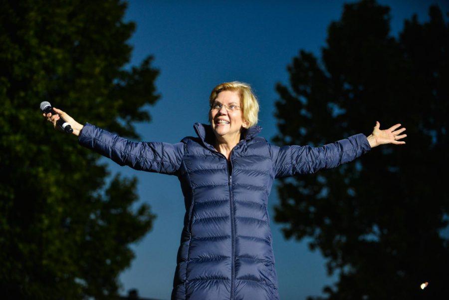 On Wednesday, Sen. Elizabeth Warren (D-MA) endorsed former Vice President Joe Biden in the 2020 presidential race. Sen. Warren is pictured at her campaign rally in Oakland, CA, in May 2019.