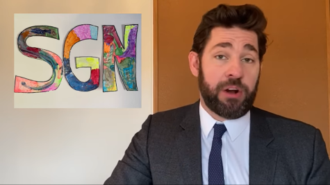 John Krasinski set up his Youtube Channel, Some Good News, in his house, featuring his homemade SGN sign.
