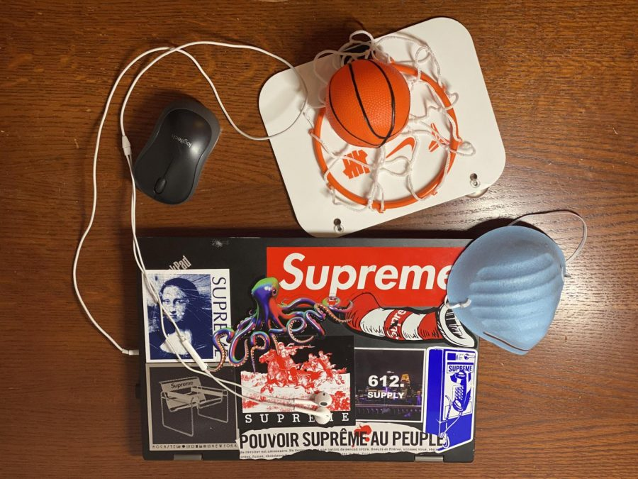 My quarantine essentials are my computer; a wireless mouse, because I can't stand my trackpad; a mini basketball hoop, to entertain myself; and a mask so I can go out because I can't stay inside all day.