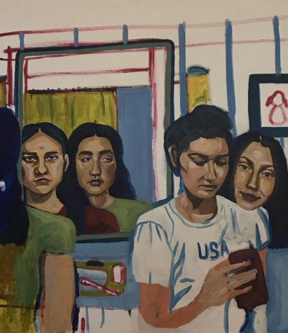 """I've been working on a painting of me and my cousins in my grandfather's bathroom where our mothers got ready when they were our age,"" said Junior Addie Morrisette."