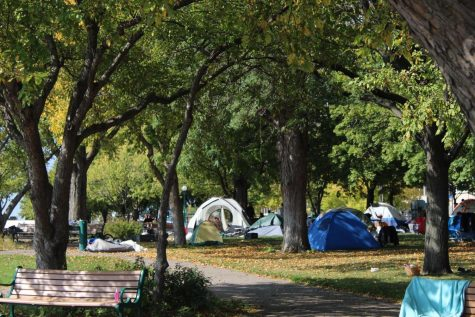 "A homeless ""tent city"" located near...in downtown St. Paul"