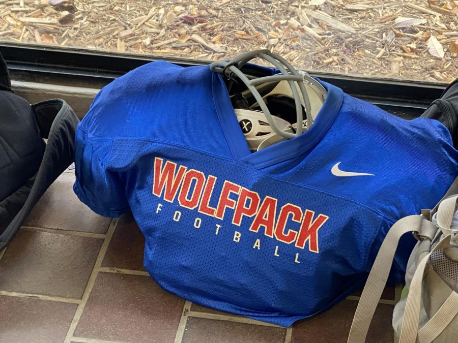 With football moved back into the fall session, a player leaves his jersey in the music hallway so it's ready for practice after school.