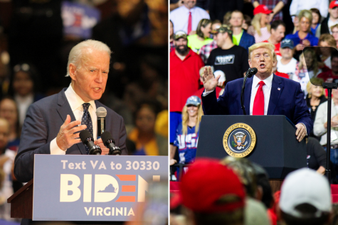 "Left: Former Vice President Joe Biden  speaks at a March 1, 2020, rally in Norfolk, Virginia at Booker T. Washington High School. Photo by Carter Marks. Right: President Donald Trump addresses a crowd at an October 10 ""Keep America Great"" rally at Target Center in Downtown Minneapolis, MN. Photo by Nikolas Liepins."