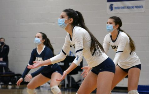 The volleyball team played Minnehaha Academy on Wednesday in an empty gym.
