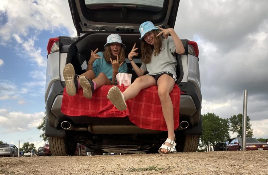Juniors Sarah Oppenheim and Lucie Bond spend time to together at a drive in movie.