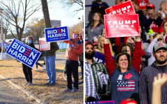 Biden supporters (left) watching a drive-in rally in St. Paul, MN, from afar on October 30, 2020. Trump supporters (right) at a rally in Minneapolis, MN, on October 10, 2019.