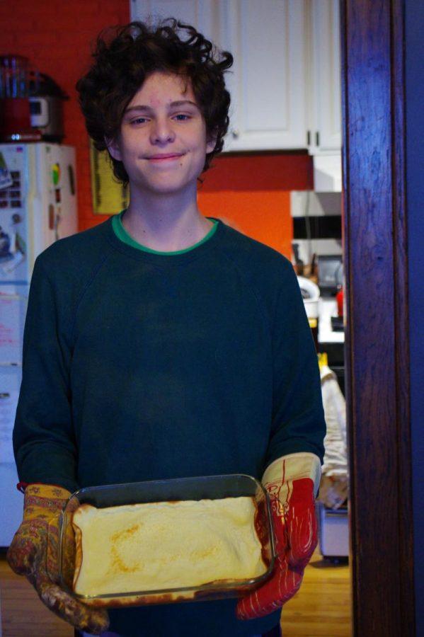 Junior Naci Konar-Steenberg enjoys some hot pannekoeken.
