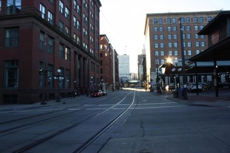 Train tracks going through the middle of Lowertown.