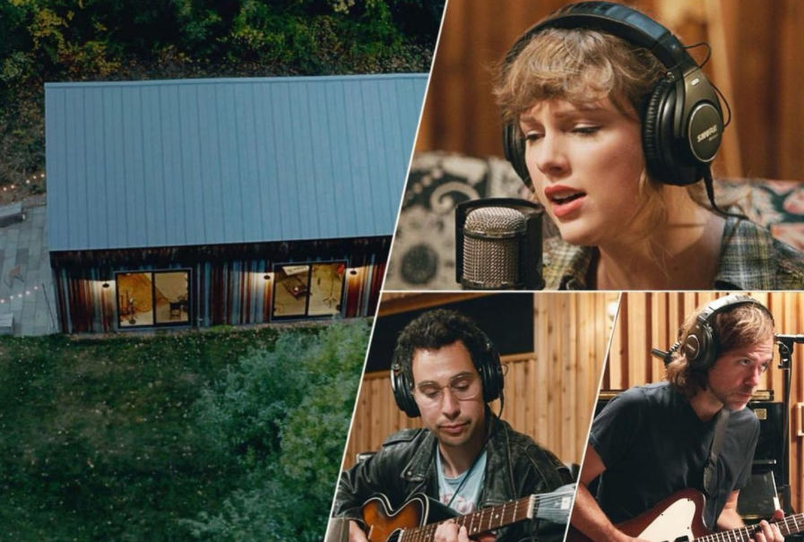 Taylor+and+her+producers%2C+Aaron+Dessner+and+Jack+Antonoff%2C+play+their+album+in+the+same+room+together+for+the+first+time+after+producing+Folklore+from+their+own+homes+amid+stay-at-home+orders.