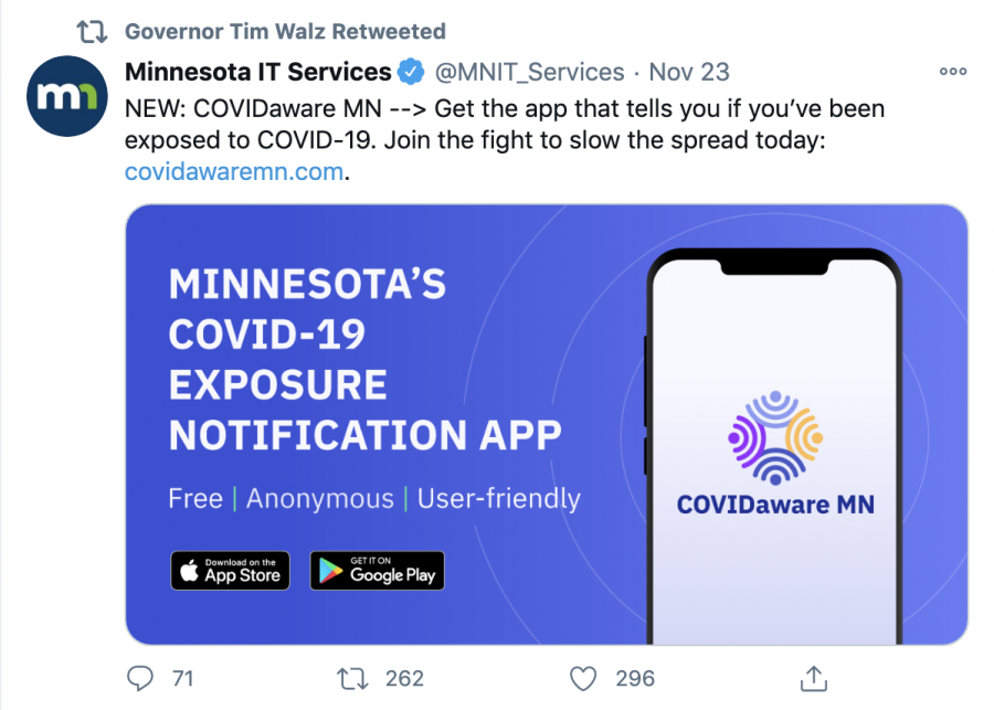 Governor Walz retweeted this tweet bringing attention to the new COVID-19 resource for Minnesotans