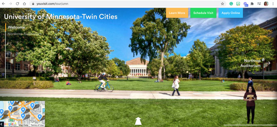 Vitual tours, like the one for U of M Twin Cities, include maps and digital tour guides a well as links to chat features with current and prospective students and an interactive model that can be viewed on screen or smartphone.