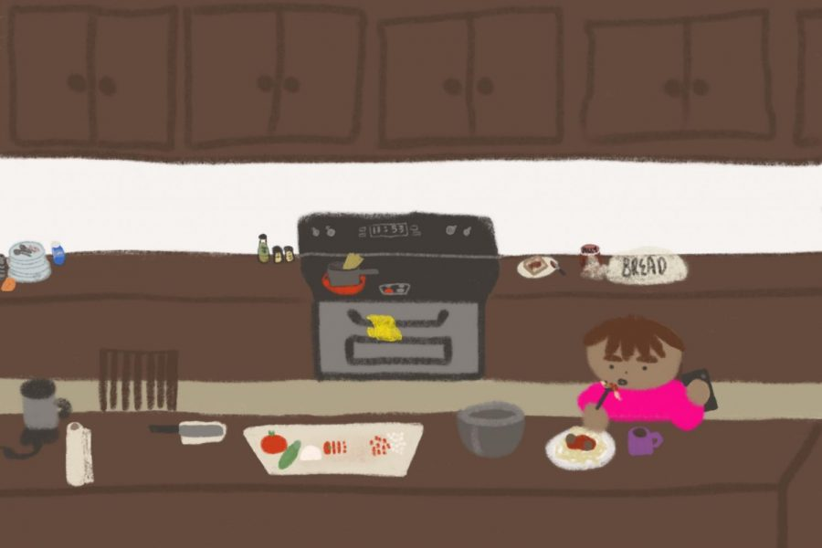 With distanced learning, students have to prepare and cook their own lunches at home.