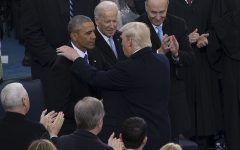 Former President Barack Obama and former Vice President Joe Biden greet President Donald Trump at his 2016 inauguration.