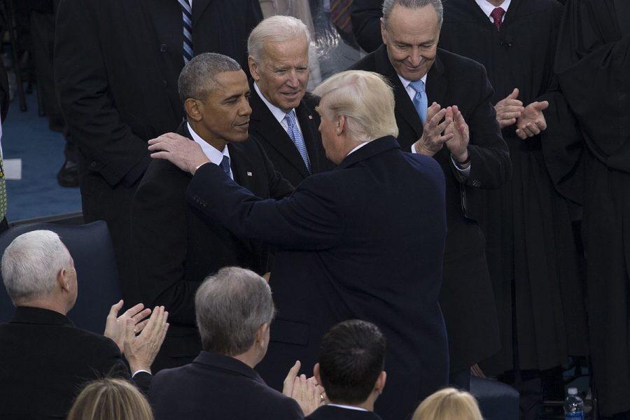 Former President Barack Obama and former Vice President Joe Biden greet President Donald Trump at his 2016 inauguration.