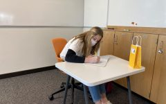Sophomore Anna Nowakowski studies during an in-person class