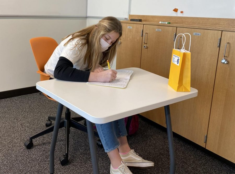 Sophomore Anna Nowakowski studies during an in-person class following the return to hybrid learning.
