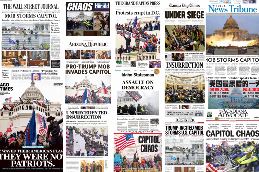 Front pages of newspapers from around the country show universal coverage of the US Capitol mob. To see the full collection, visit Today's Front Pages at newseum.org. (NOTE: this will update to freedomforum.org/todaysfrontpages/ on Jan. 13)