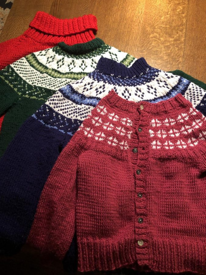 Marie Schumacher has made four sweaters since the start of the pandemic.