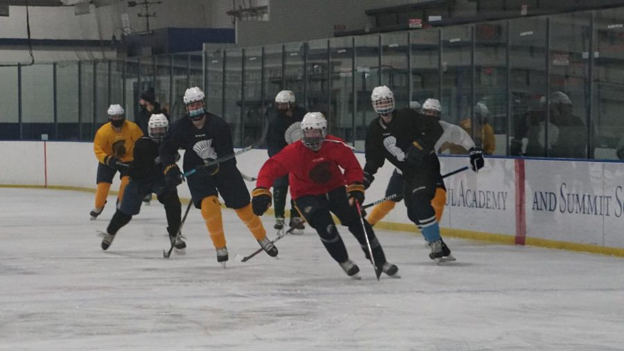 A player rushes towards the puck, ignoring the others following him, hoping to score a goal.