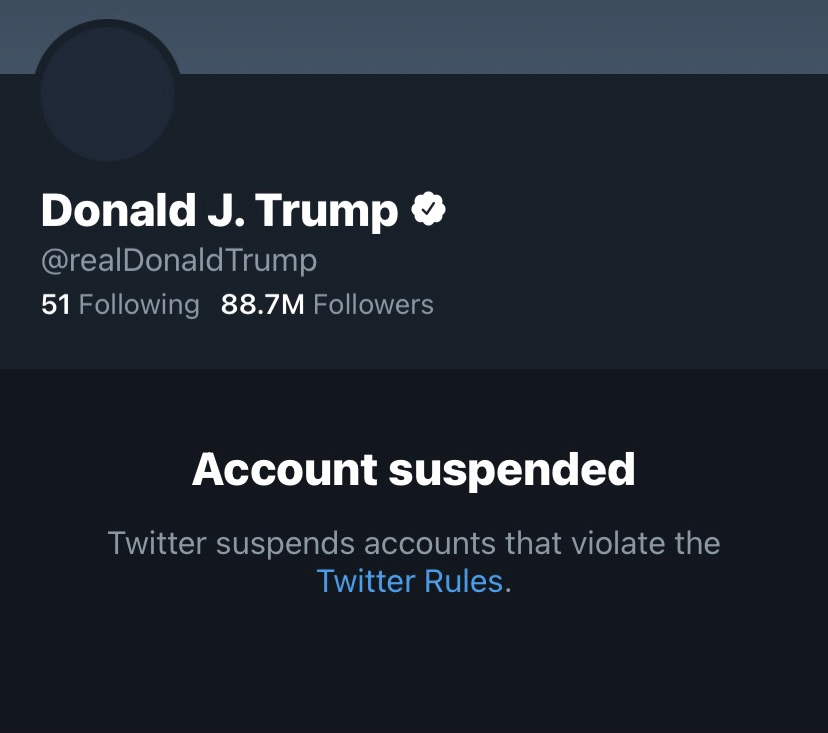 Former+President+Trump%27s+Twitter+account+was+suspended+Jan.+8%2C+two+days+following+the+insurrection+at+the+US+Capitol.+The+suspension+was+in+response+to+multiple+tweets+by+the+former+president%27s+account+that+were+accused+of+inciting+violence.+