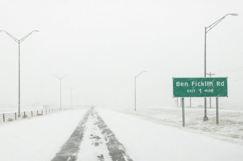 Driving down Loop 306 just outside of San Angelo, TX during the winter Storm on Feb. 14, 2021.