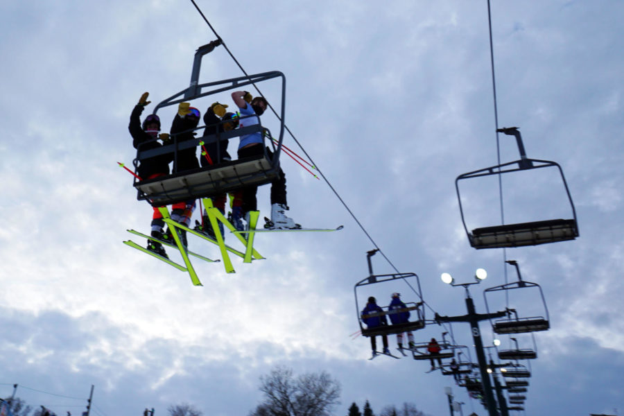 Skiiers take the lift up to the top of the hill at Buck Hill ski area in Burnsville during the meet.